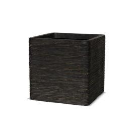 Pot carré strié marron