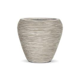 Pot conique rond strié ivoire