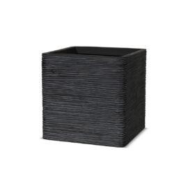 Pot carré strié noir