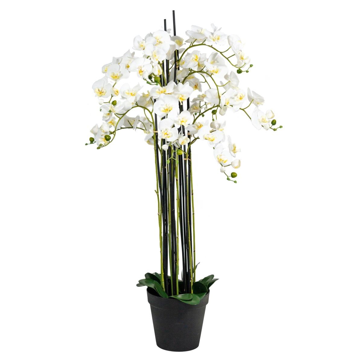 Orchidée artificielle 12 hampes en pot H 142 cm