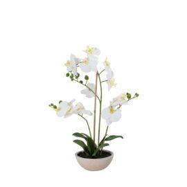 Orchidée artificielle 3 hampes en pot ovale H 70 cm