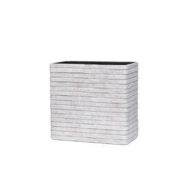 Petit pot carré strié ivoire