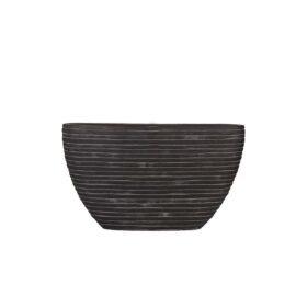 Petit pot ovale strié noir