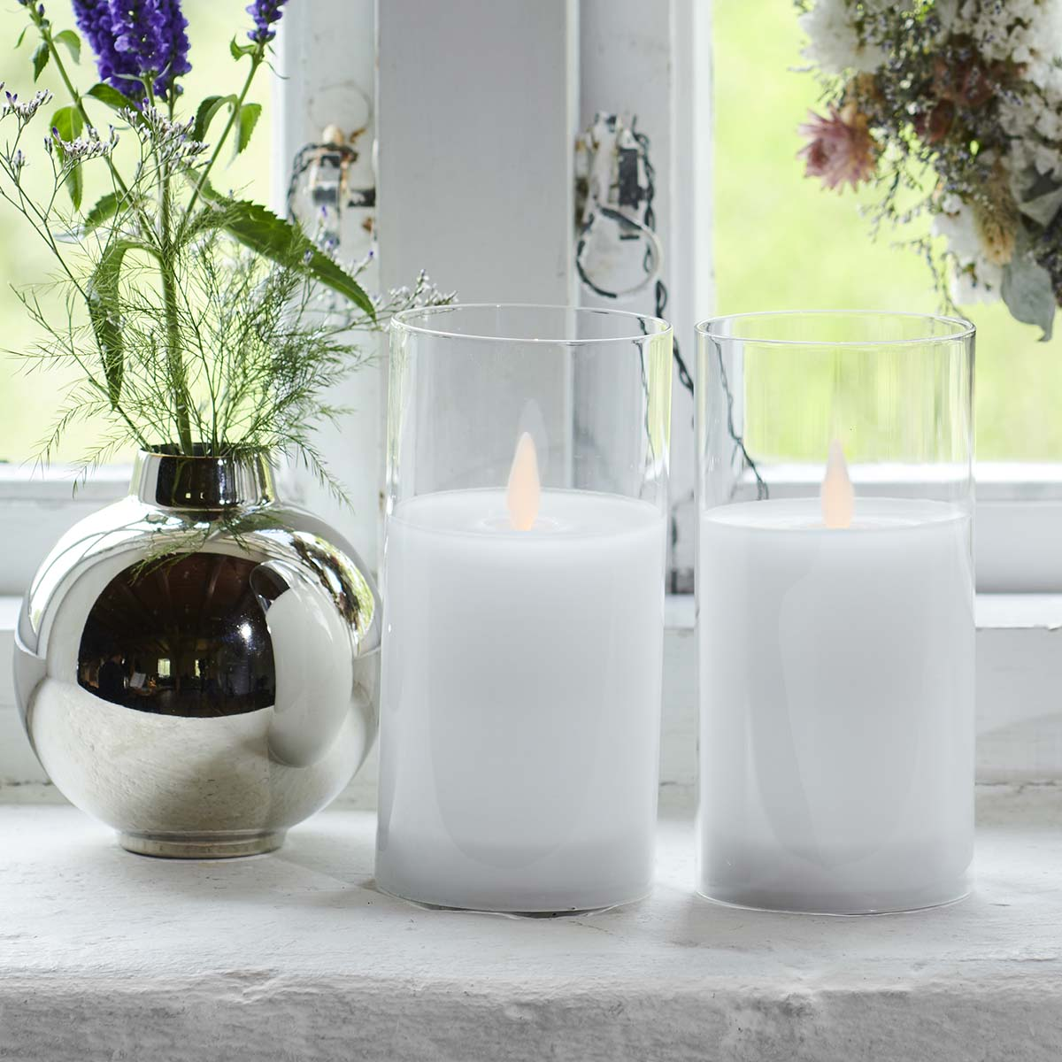 Ivy Bougies Ivy LED Verre Blanche 15*7cm