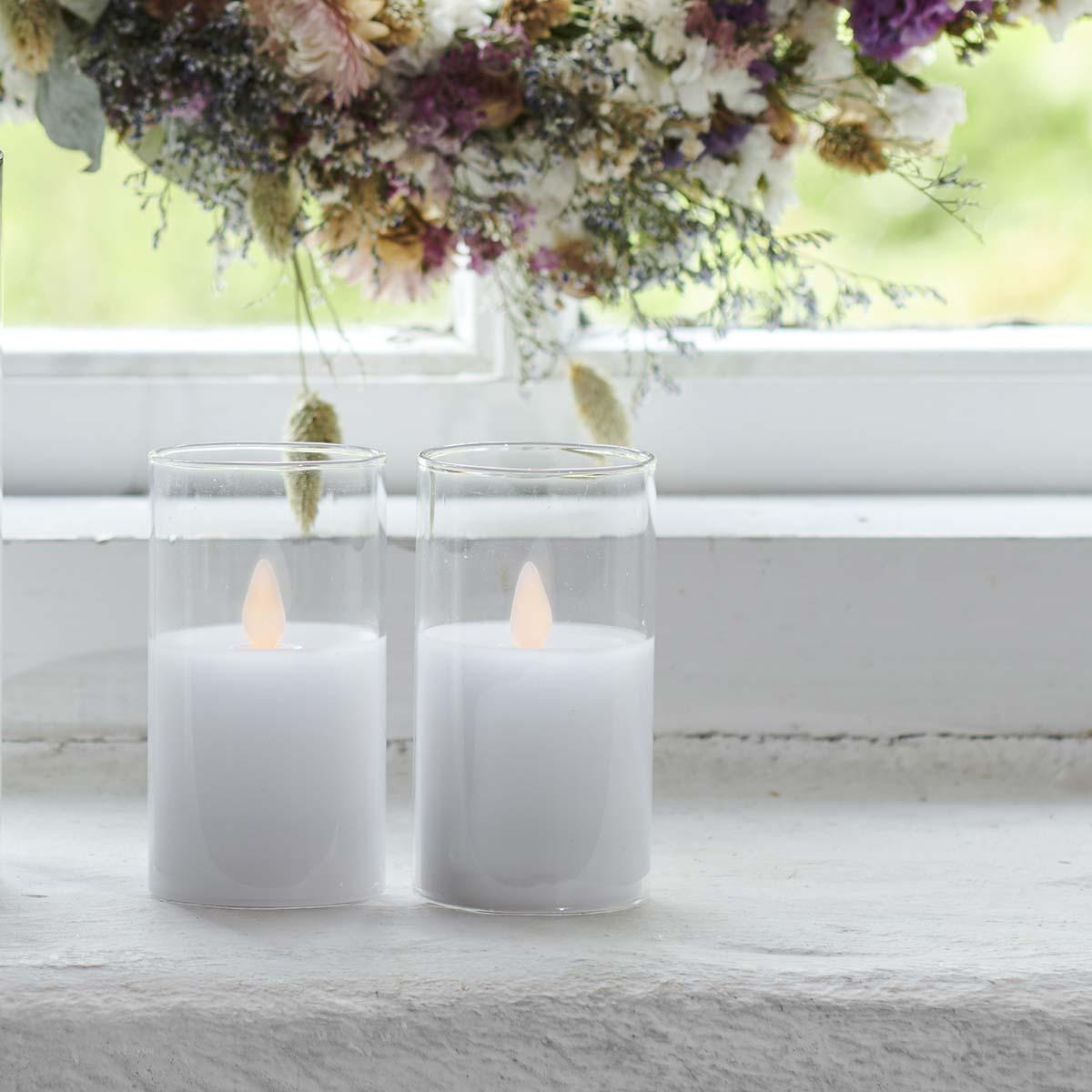 Bougies Ivy mini LED Verre Blanche H9cm * D 5cm