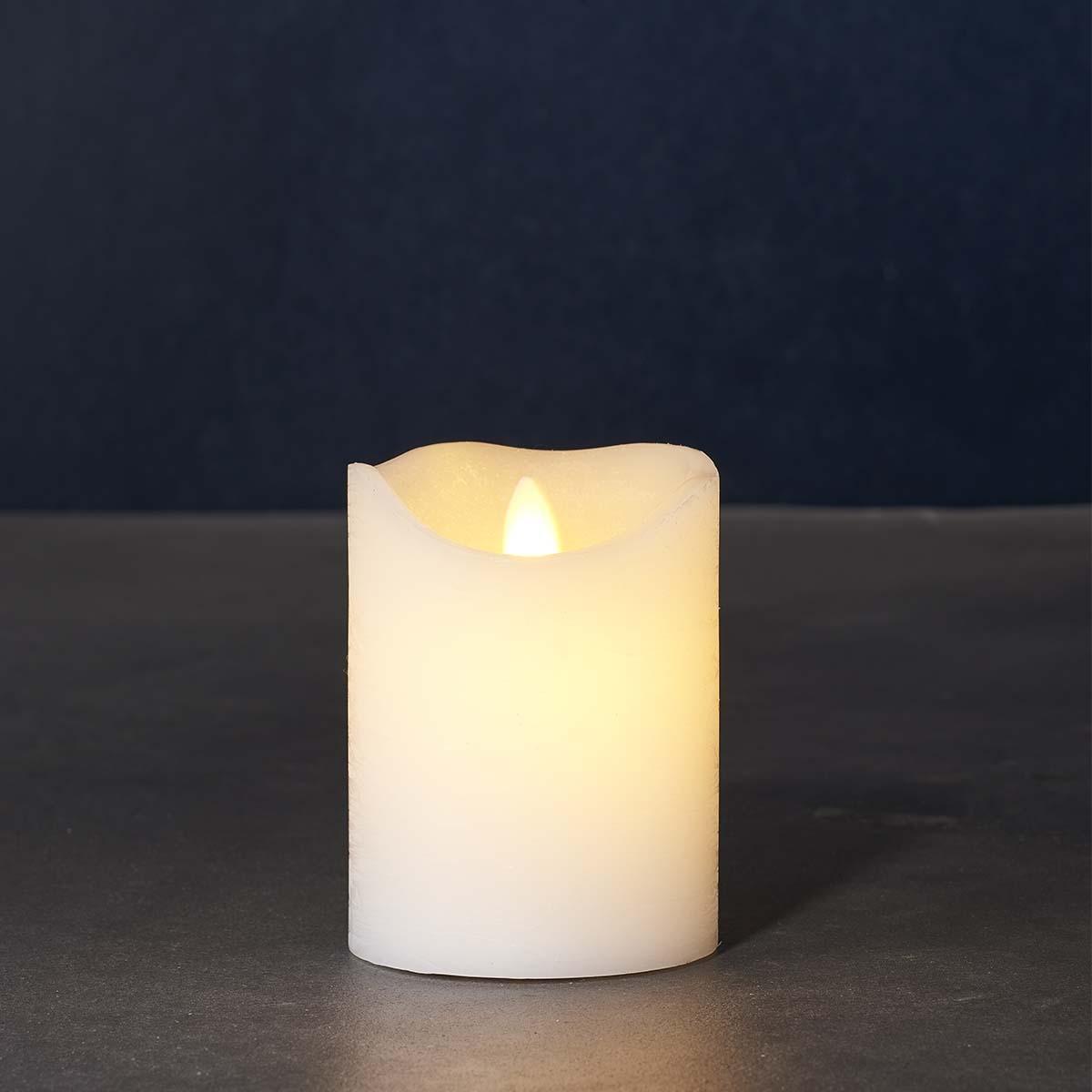 Bougie LED blanche vraie cire flamme vacillante H 10 * D 7,5 cm