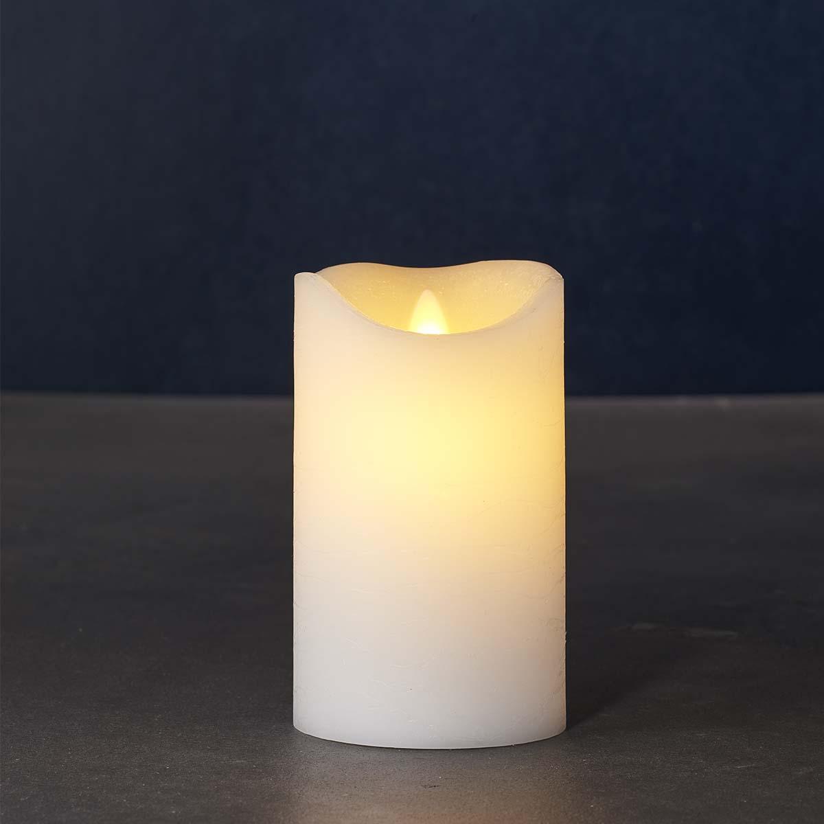 Bougie LED blanche vraie cire flamme vacillante H 12,5 * D 7,5 cm