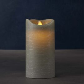 Bougie LED gris vraie cire flamme vacillante H 15 * D 7,5 cm