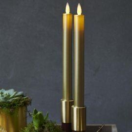 Bougies LED gold vraie cire flamme vacillante H 25cm * D 2 cm