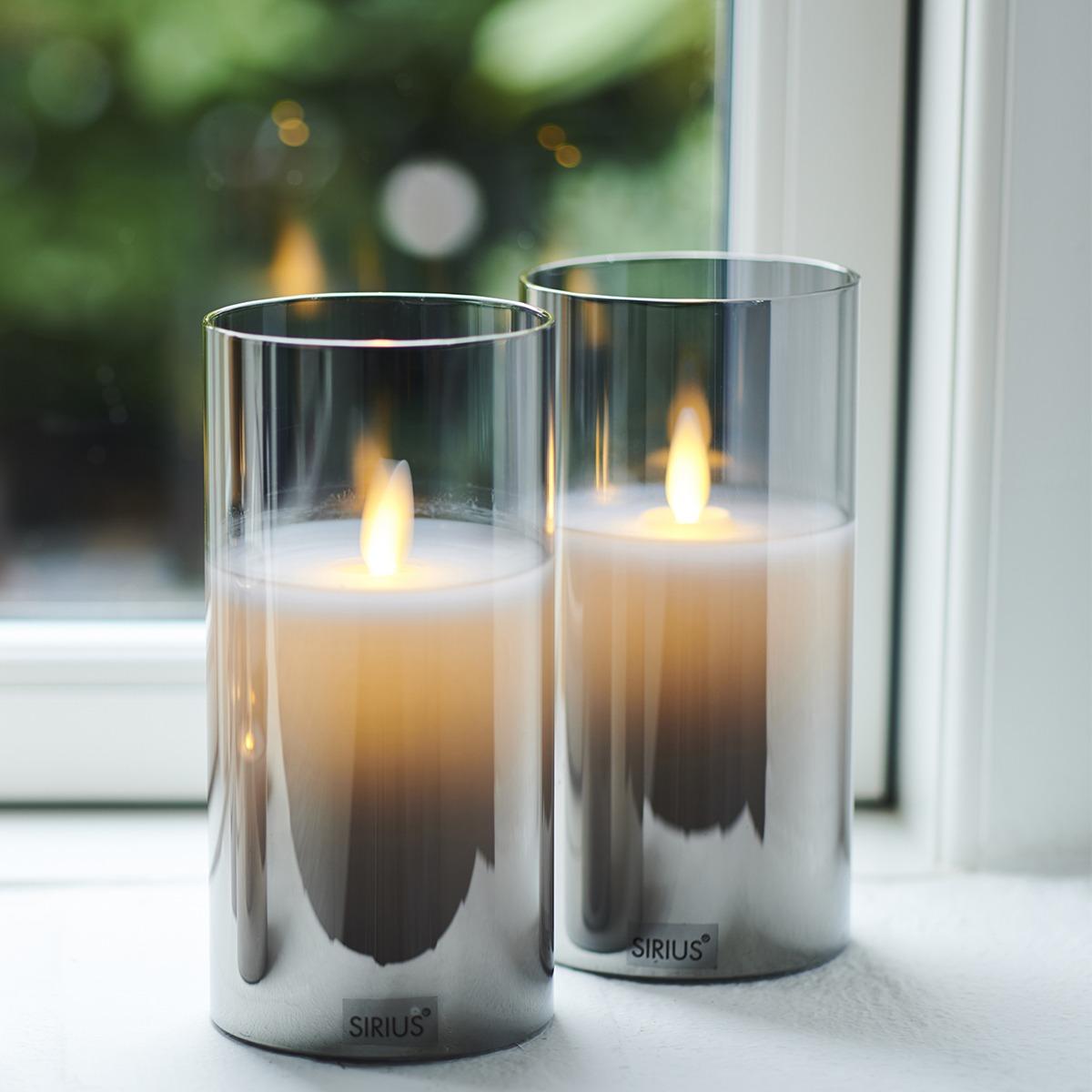 Bougies Ivy LED verre coloré gris et vraie cire 15* 7 cm