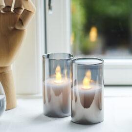 Bougies Ivy mini LED coloré gris et vraie cire H 9cm * D 5 cm