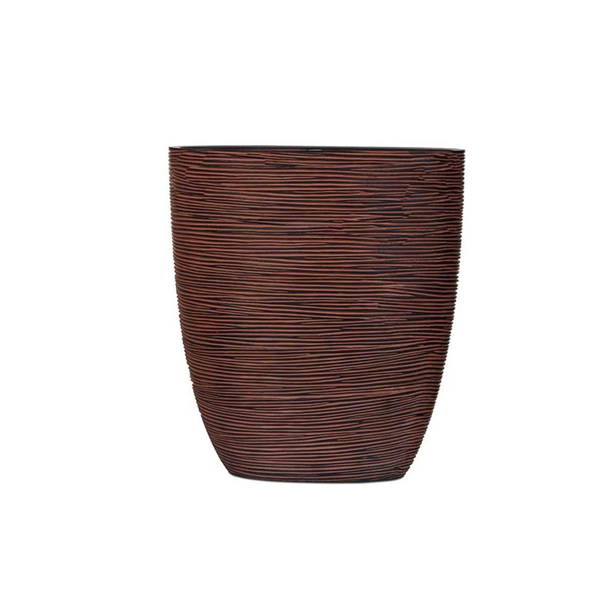 Jardinière haut ovale strié marron