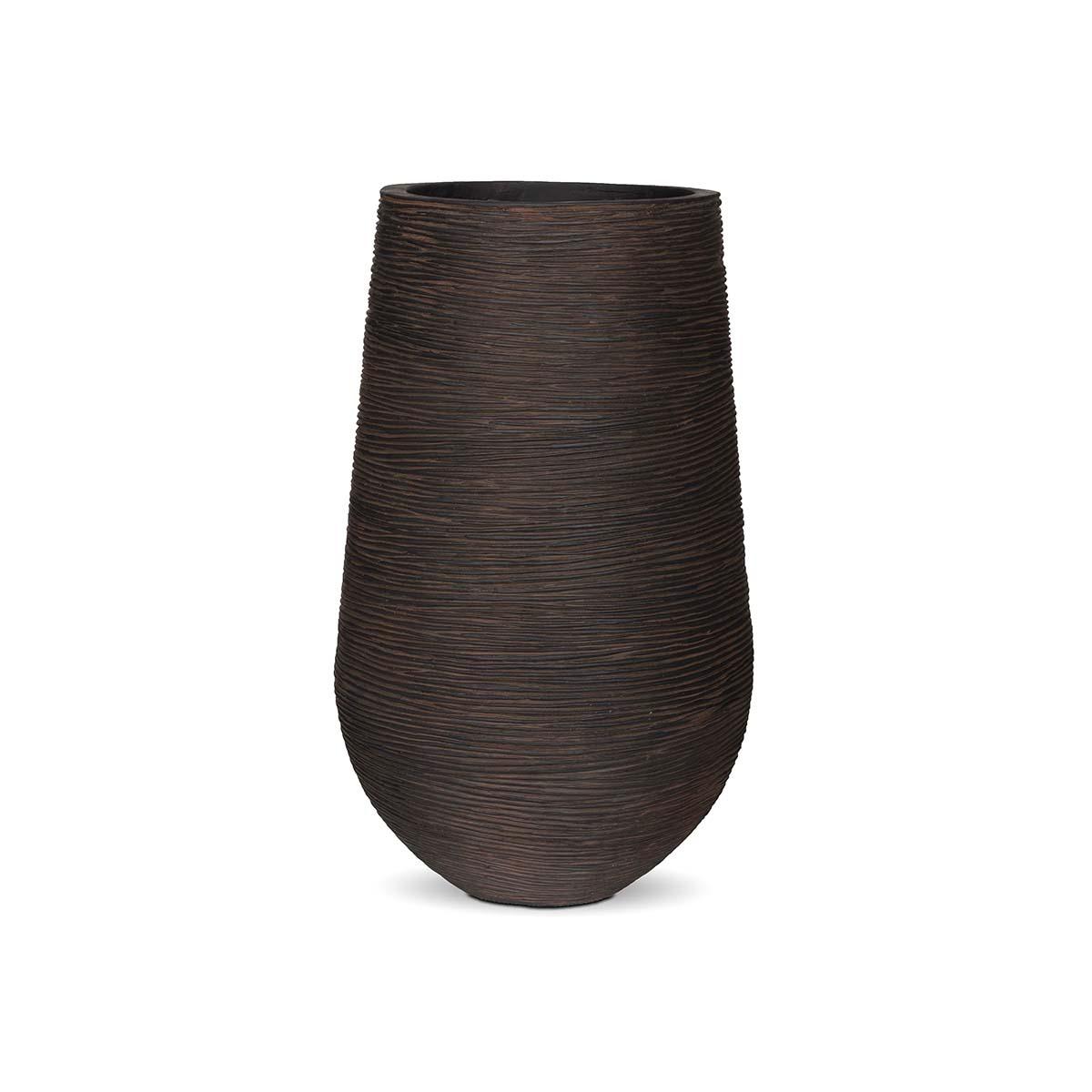 Pot palm strié marron