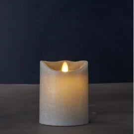 Bougie LED grise vraie cire H12.5 cm*10 cm