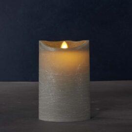 Bougie LED grise vraie cire H 20 * D10 cm