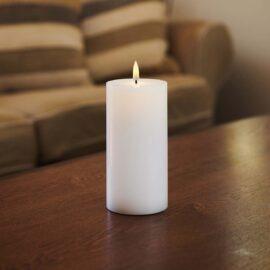 Bougie LED haut plat flamme vacillante H 15 * D 7,5 cm