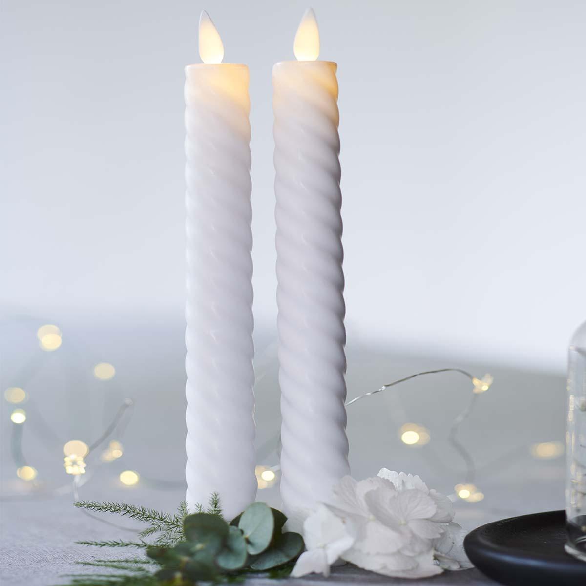 Bougies led SARA Krone blanche vraie cire flamme vacillante H 25 cm * D 2cm