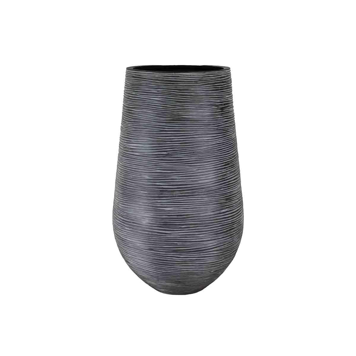 Pot palm strié noir.