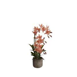 Orchidée artificielle à fleurs saumons